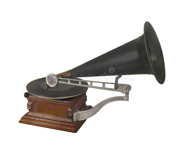 Antique disk playing gramophone isolated. stock images