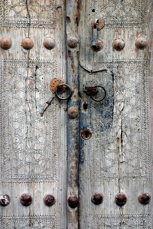 Antique Door. An antique carved door in Bukhara, Uzbekistan, on the Silk Road royalty free stock images