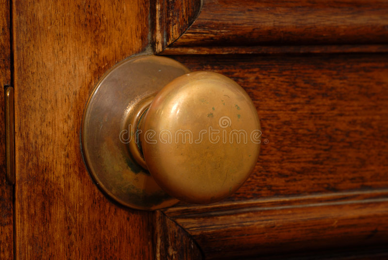 Antique door and door knob royalty free stock images