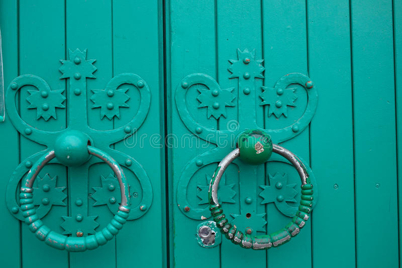 Antique door rings stock photo