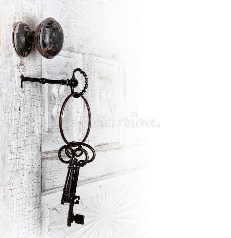 Free Antique Door With Keys In The Lock Royalty Free Stock Photos - 25277778