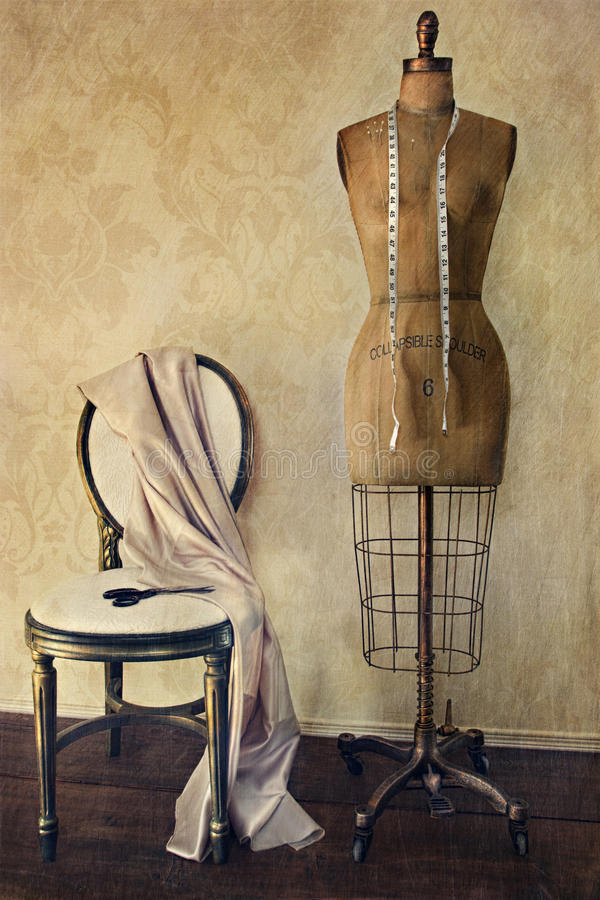 Download Antique Dress Form And Chair With Vintage Feeling Stock Image - Image of grunge, figurine: 21401051