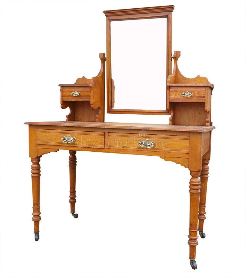 Antique Dressing Table with Mirror. Isolated with clipping path stock photography