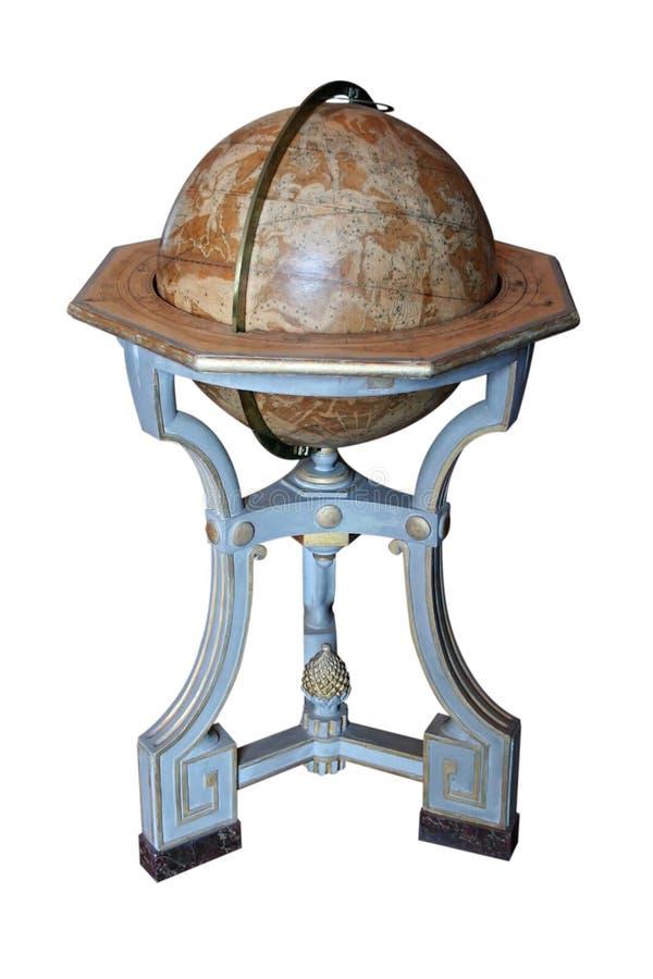 Antique Earth Globe on white background stock photos