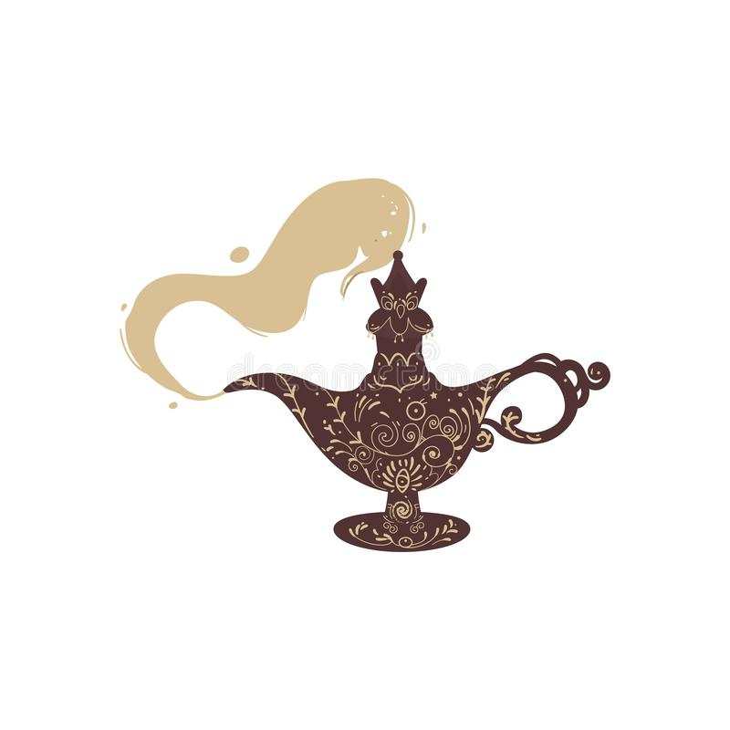 From the antique eastern fantasy magic lamp comes smoke. stock illustration