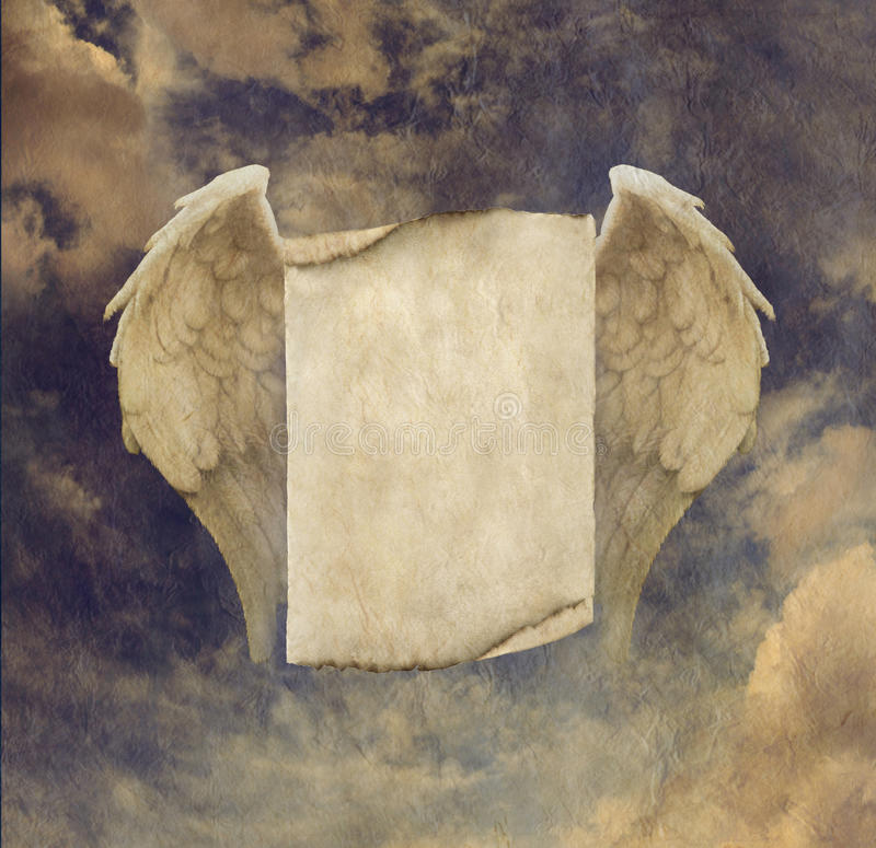 Antique Effect Parchment Angel Wings Sign. Rustic parchment clouds and blue sky background with angel wings and scroll message board area stock illustration