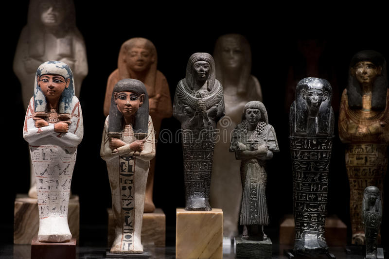Antique egyptian statuette close up. Beautiful art statuette form ancient egypt royalty free stock images