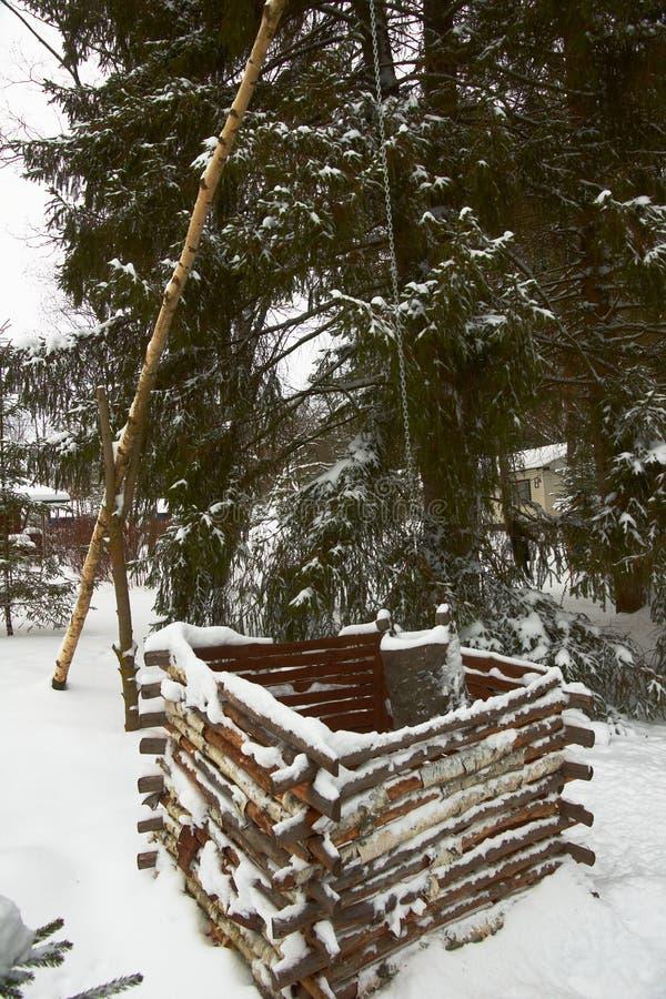 Antique en bois puits d'eau en hiver images libres de droits