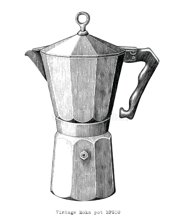 Antique engraving illustration of Moka pot black and white clip art isolated on white background. Moka pot for vintage coffee shop royalty free illustration