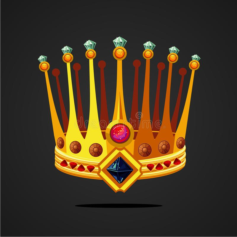 Antique fantasy crown with jewel. Cartoon style illustration on isolated background. Game design assets concept. royalty free illustration
