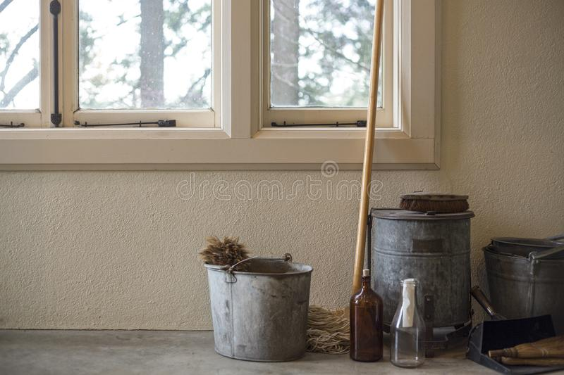 Antique Farm Style Cleaning Supplies stock images