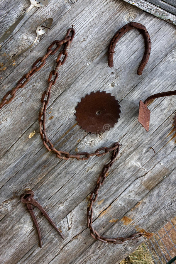 Free Antique Farm Tools Hanging On A Wall Royalty Free Stock Photo - 11341695