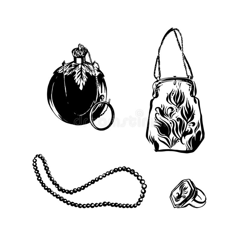 Antique fashion accessories hand drawn set. Vintage perfume bottle, victorian style handbag, retro beads necklace and ring. Sketch royalty free illustration