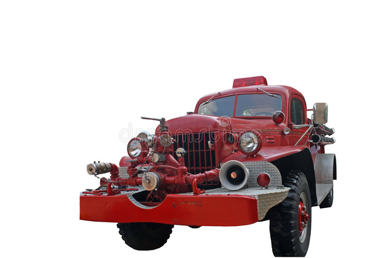 Antique Fire Truck. Antique Dodge Fire Truck isolated on a white background stock photo
