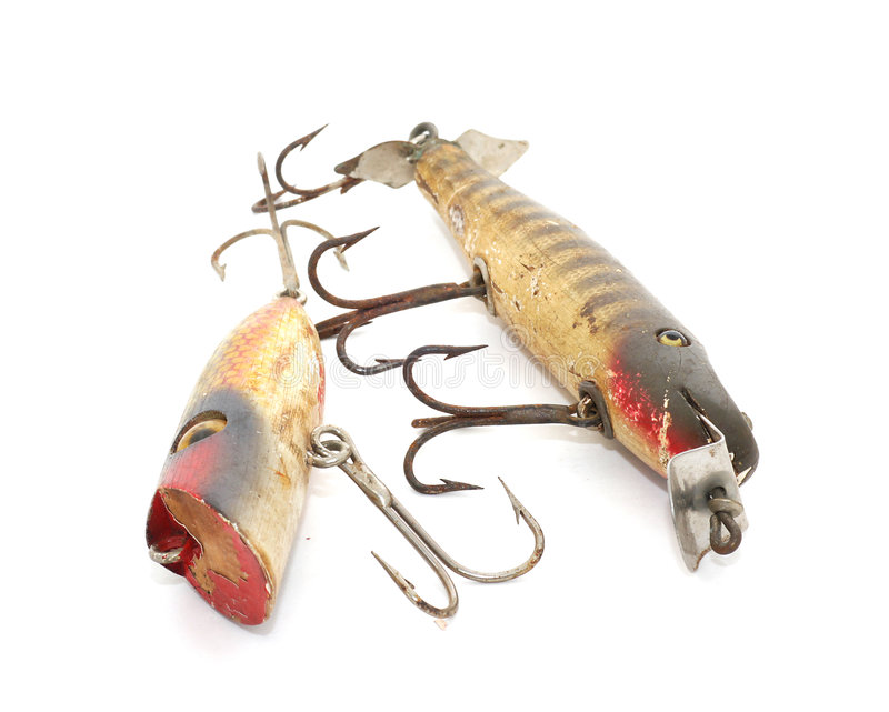 Antique fishing lures royalty free stock photography for Vintage fishing lure identification