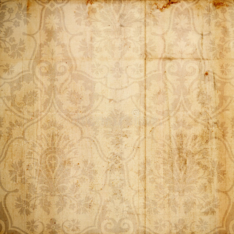 Antique Floral Damask Background. A rich, floral damask textural background for scrapbooking and design, 12x12 inches in size vector illustration