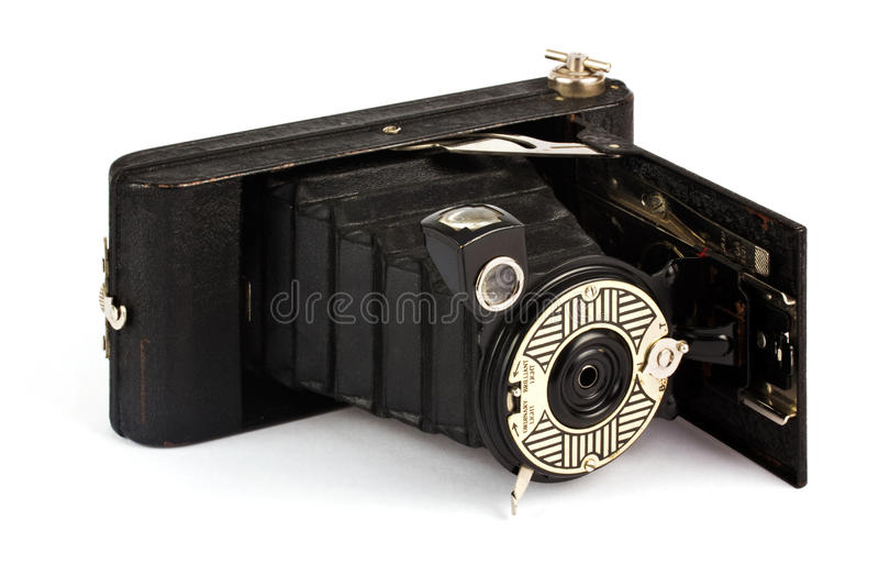 Download Antique Fold Away Camera On White Stock Image - Image: 25031439