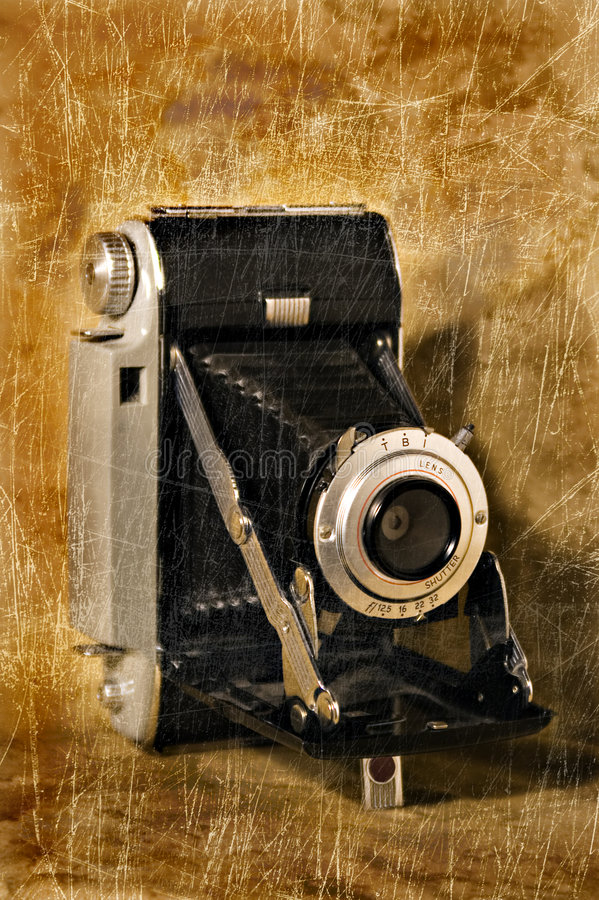 Download Antique Folding Camera With Grunge Texture Stock Photo - Image of classic, photography: 5196190