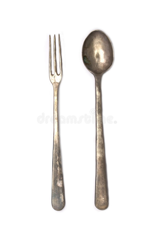 Antique Fork and Spoon stock image