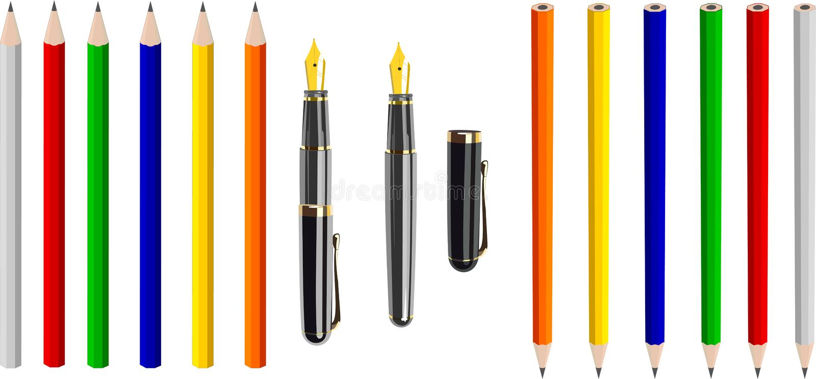 Antique fountain pen and colorful crayons (vector) vector illustration