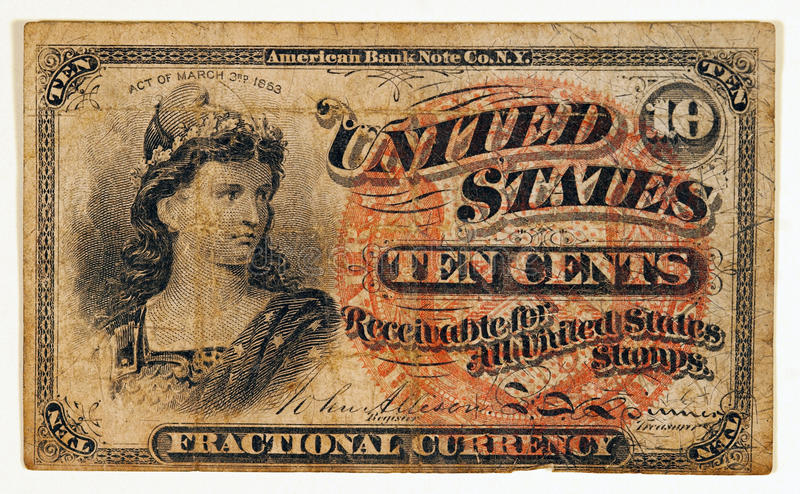 Download Antique Fractional Currency Note Stock Image - Image of nostalgia, miss: 19227061
