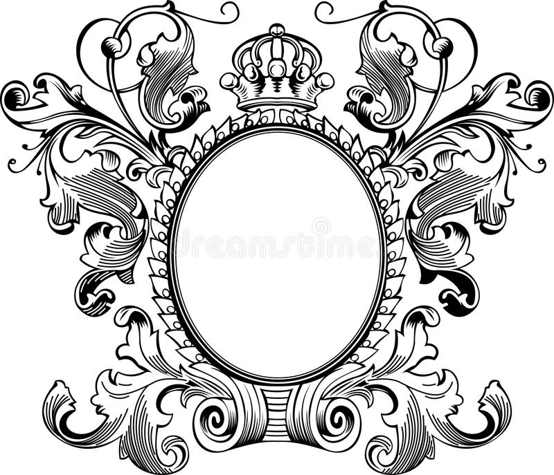 Antique Frame Engraving. Scalable And Editable Vector Illustration royalty free illustration