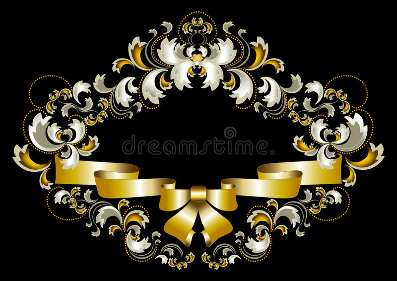 Antique frame ornament with bow and gold decor vector illustration