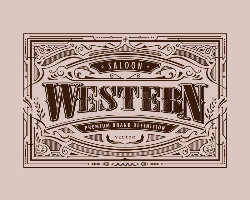 Antique frame western label vintage border retro hand drawn engraving vector. Illustration stock illustration