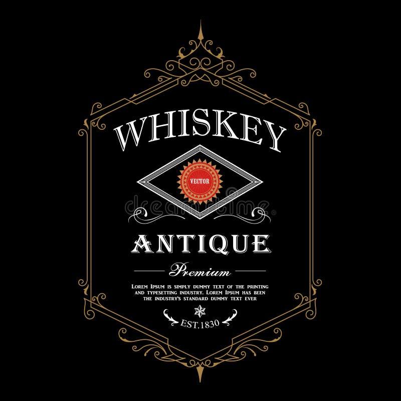 Antique frame whiskey label Vintage border engraving western retro vector illustration. Antique whiskey label Vintage border engraving western retro vector vector illustration