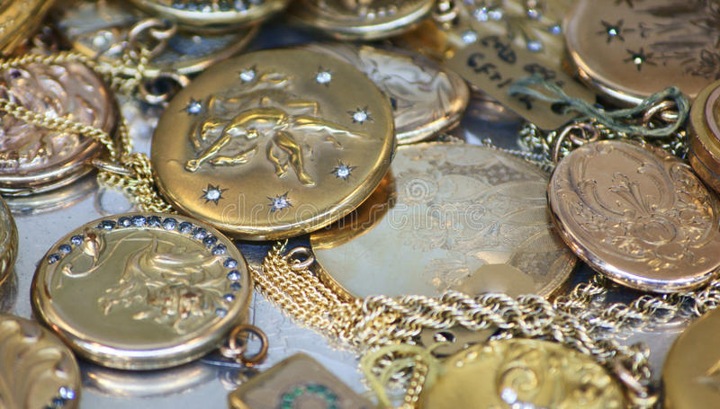 Antique French lockets stock images