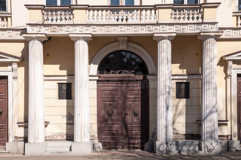 Download The Antique Front Door With Antique Poles Stock Photo - Image:  51603104 - The Antique Front Door With Antique Poles Stock Photo - Image