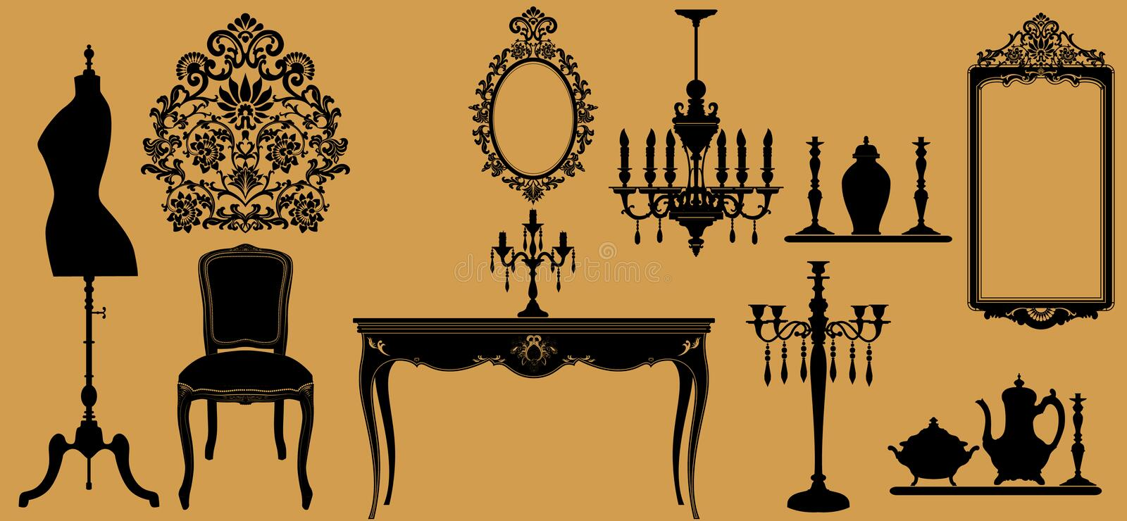 Download Antique furniture stock vector. Image of cristal, stylish - 10842572