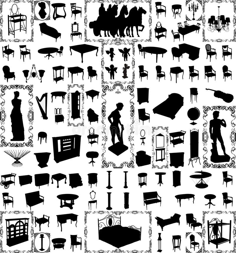 Free Antique Furniture And Objects Hundred Vector Lar Royalty Free Stock Photography - 9825967