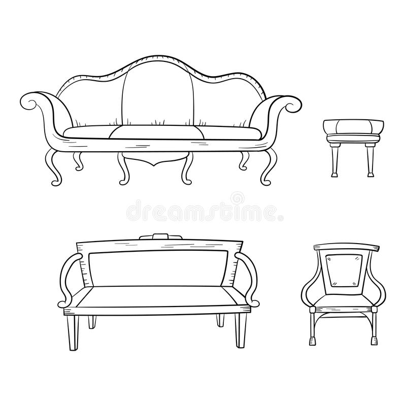 Antique Furniture Set Chair Couch Sofa Chair Isolated