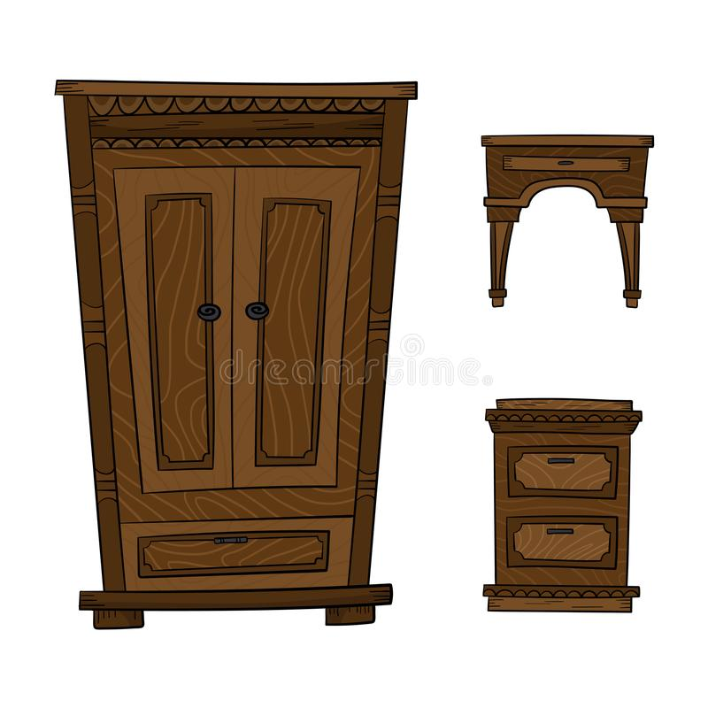Free Antique Furniture Set - Closet, Dresser, Nightstand Isolated On A Stock Photos - 115074793