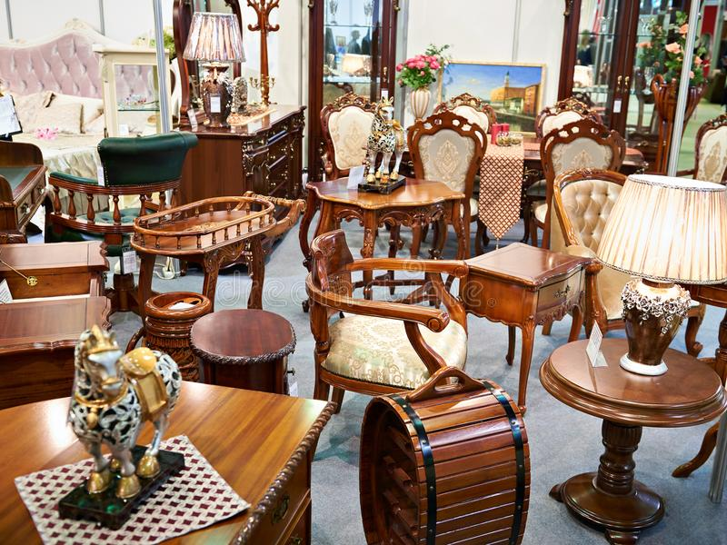 Antique furniture store. With wooden goods stock image