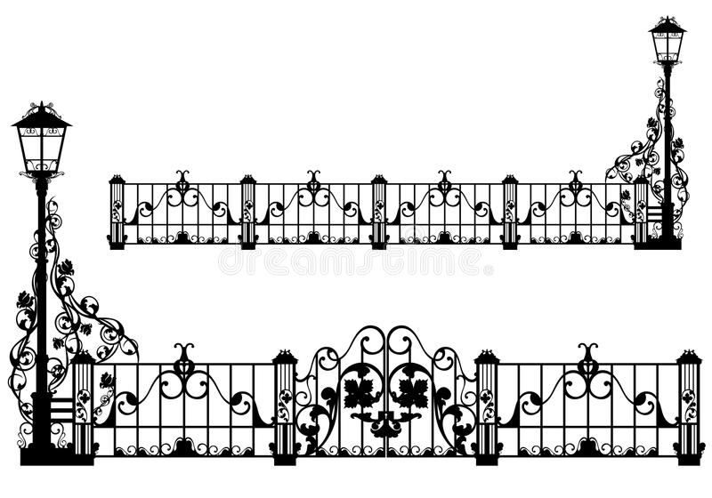Antique garden fence. Beautiful antique iron fence with street light and gates among rose flowers - black vector silhouette