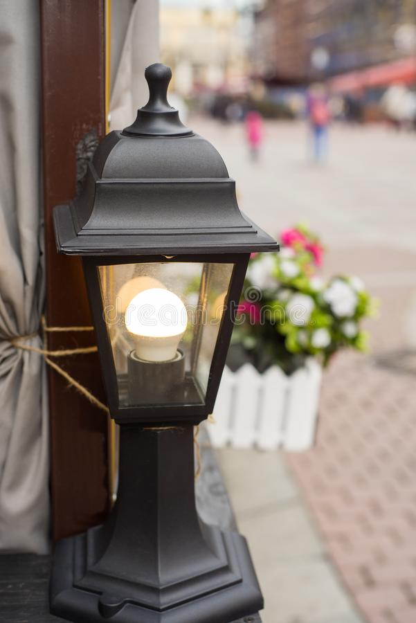 Download Garden Lights With Solar Battery Stock Photo   Image Of  Environment, Design: 113252204