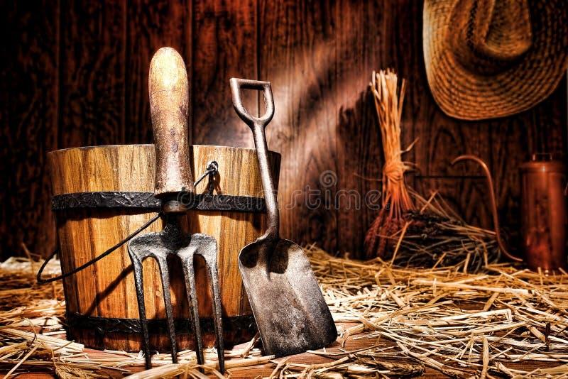Antique Gardening Tools Shovel and Spading Fork stock image