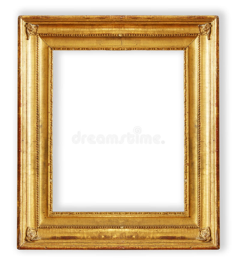 Antique, gilded frame. Gold frame. Gold gilded arts and crafts pattern picture frame royalty free stock photo