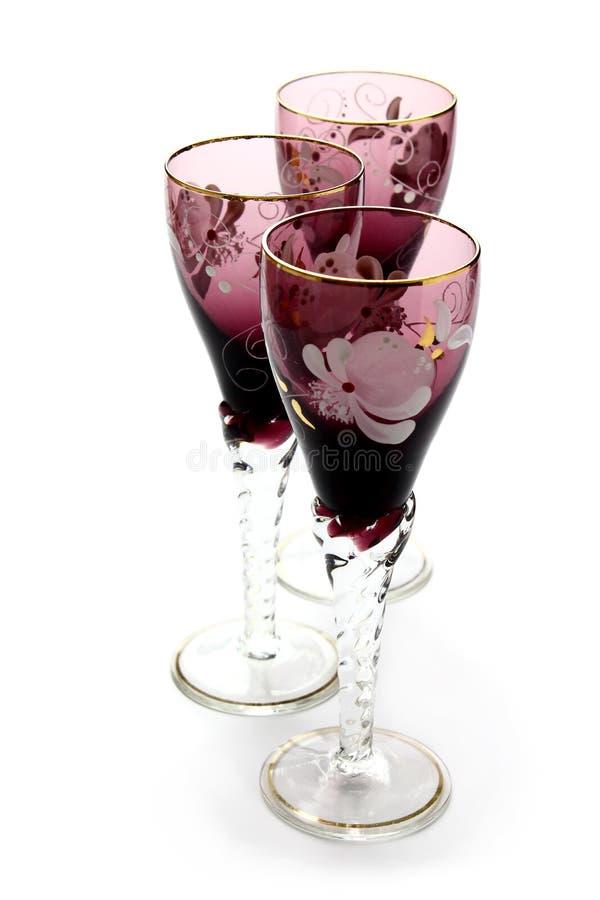 Antique glass beakers stock image