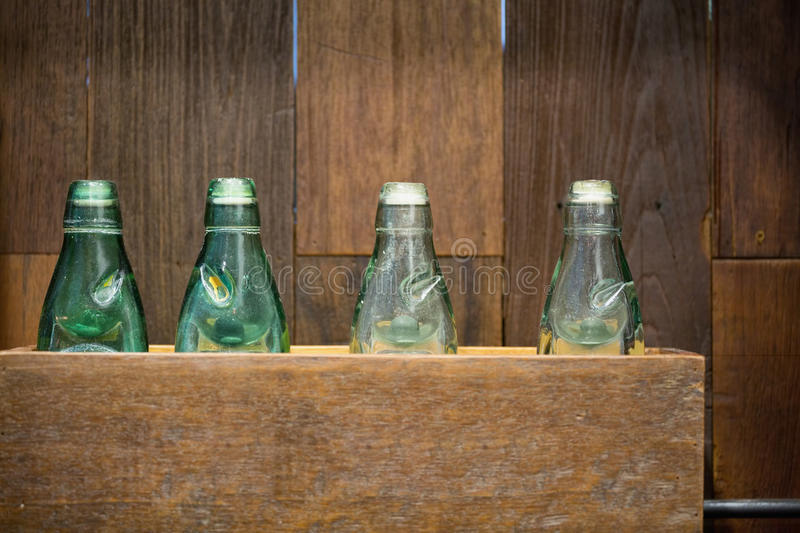 Antique glass bottles i royalty free stock photo
