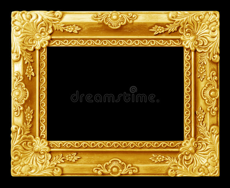 The antique gold frame on the black stock photos