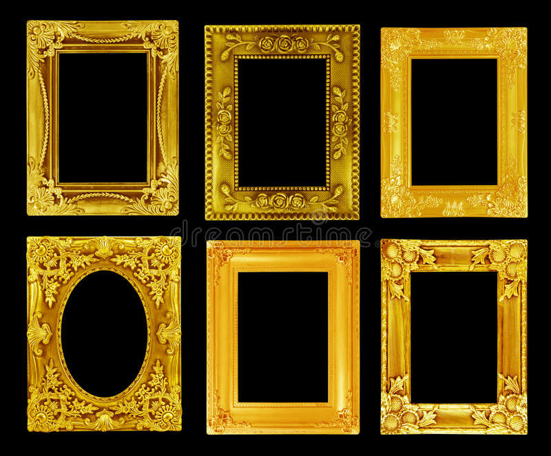 The antique gold frame on the black stock image