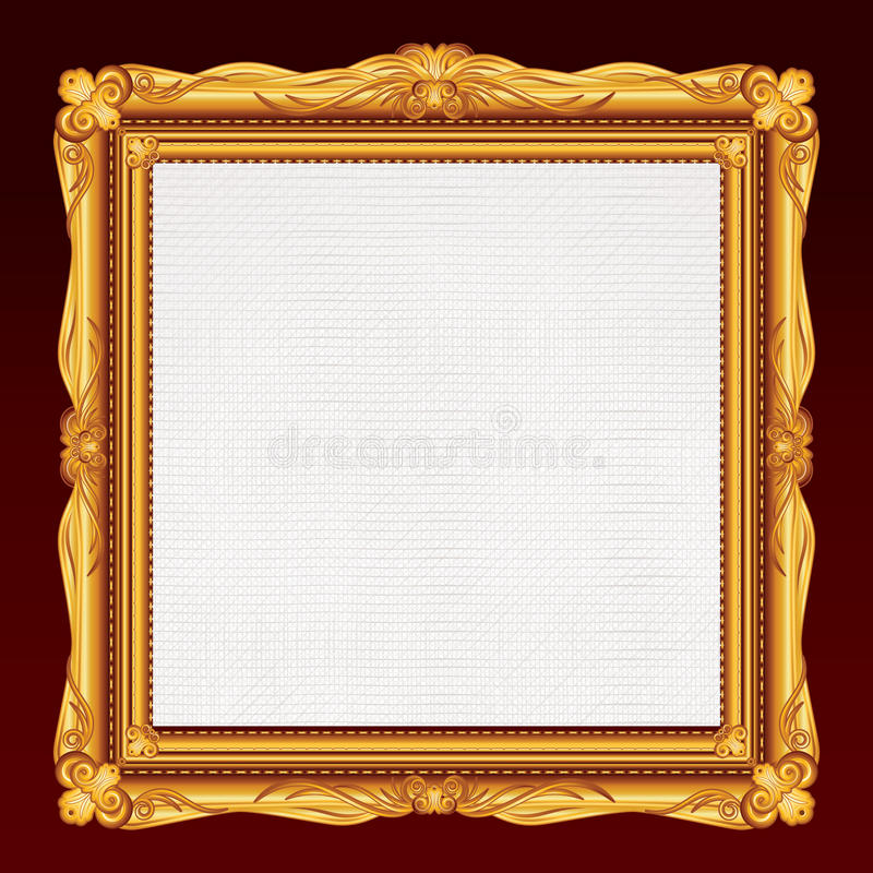 Antique Gold Frame with Blank Canvas. stock images