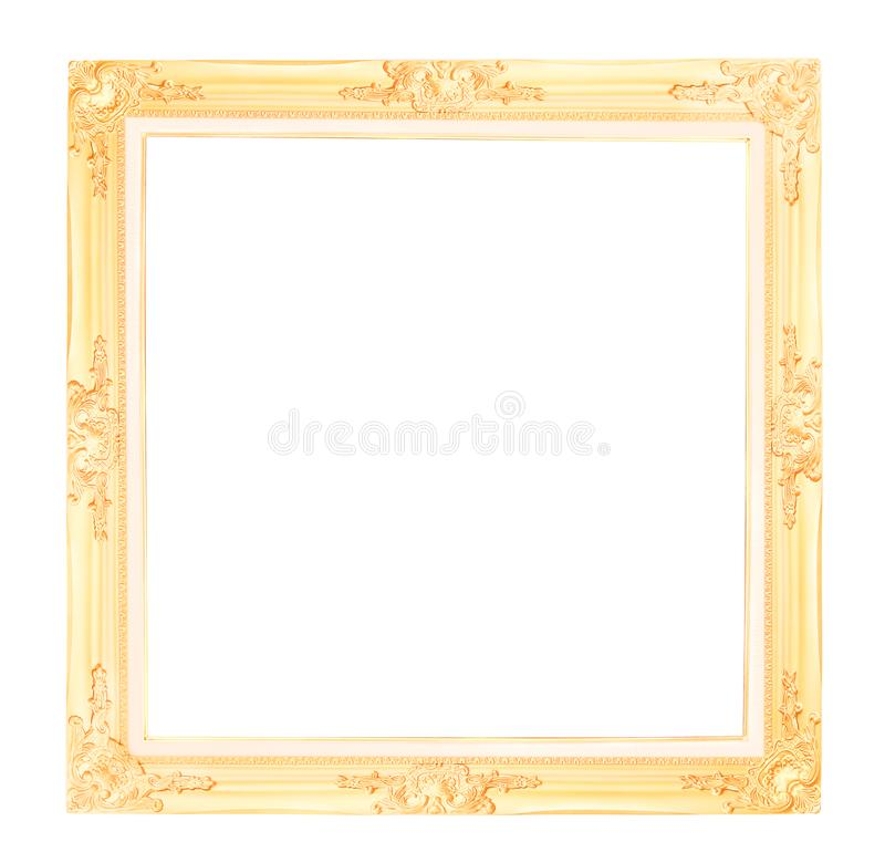 Antique gold picture frame isolated on white background with clipping path stock photo