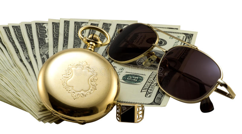 Antique gold watch, gold sun glasses and stack of money dollars set isolated. On white stock photos