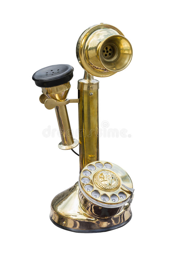 Antique golden brass telephone stock photo