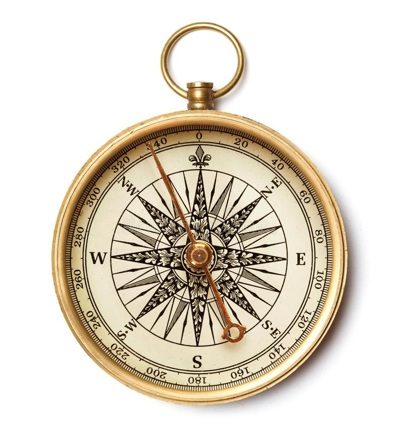 Antique golden compass. Isolated on white background stock photo