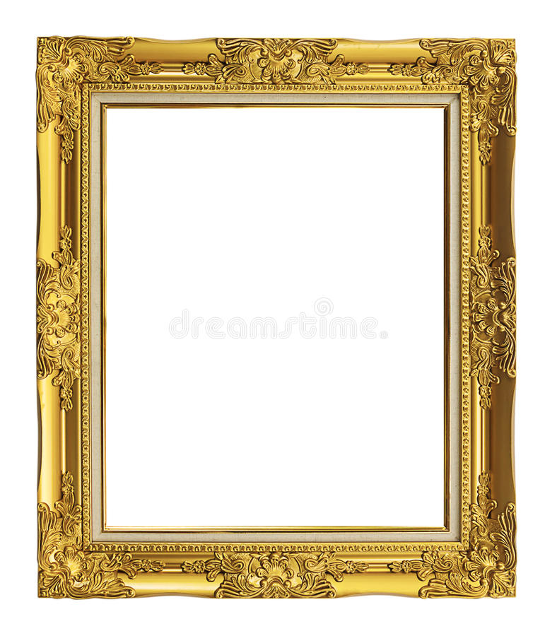antique golden frame isolated on white background, clipping path stock images